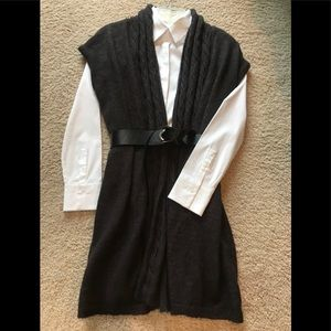 The Limited charcoal long sweater vest